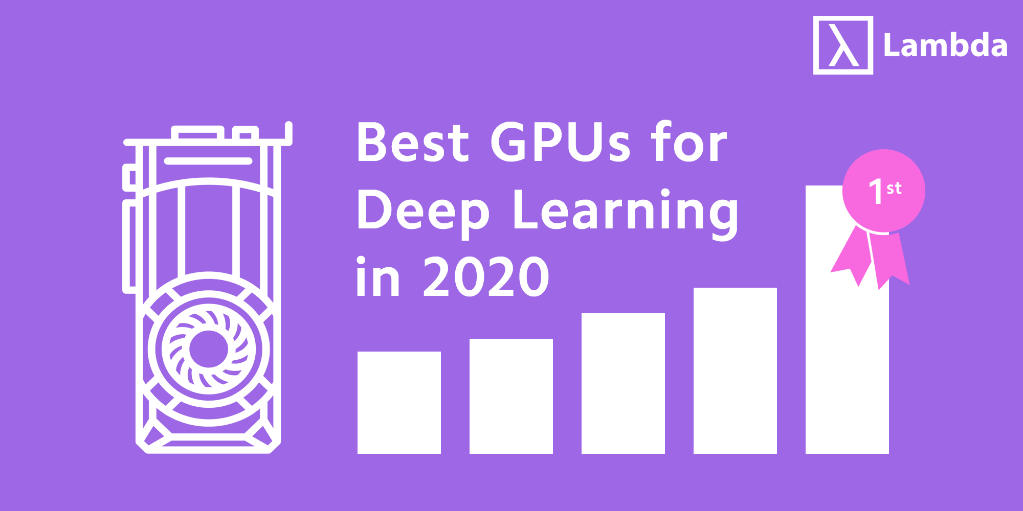 Header image with stylized graph of best GPUs for deep learning in 2020.