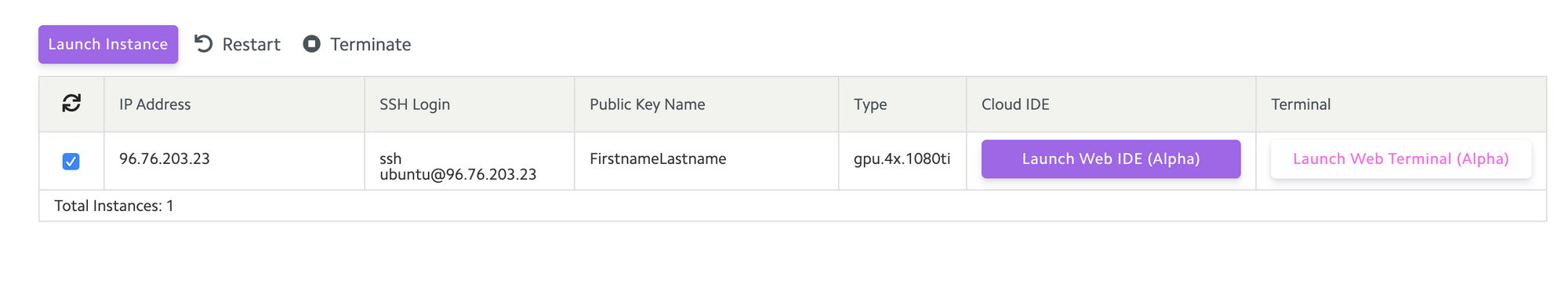 Lambda Cloud dashboard with newly created instance.